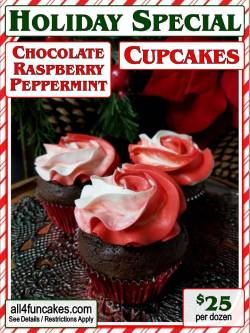 Chocolate Raspberry Peppermint Cupcakes - Holiday Special 2017 - All4Fun Cakes