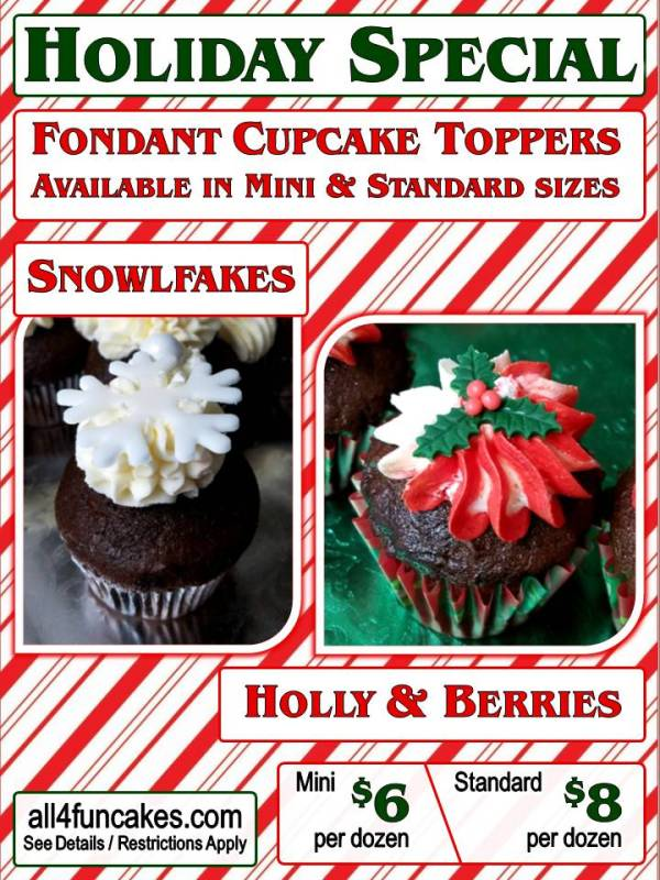 Cupcake Toppers Snowflake or Holly per dozen - Christmas Holiday Special 2017 - All4Fun Cakes