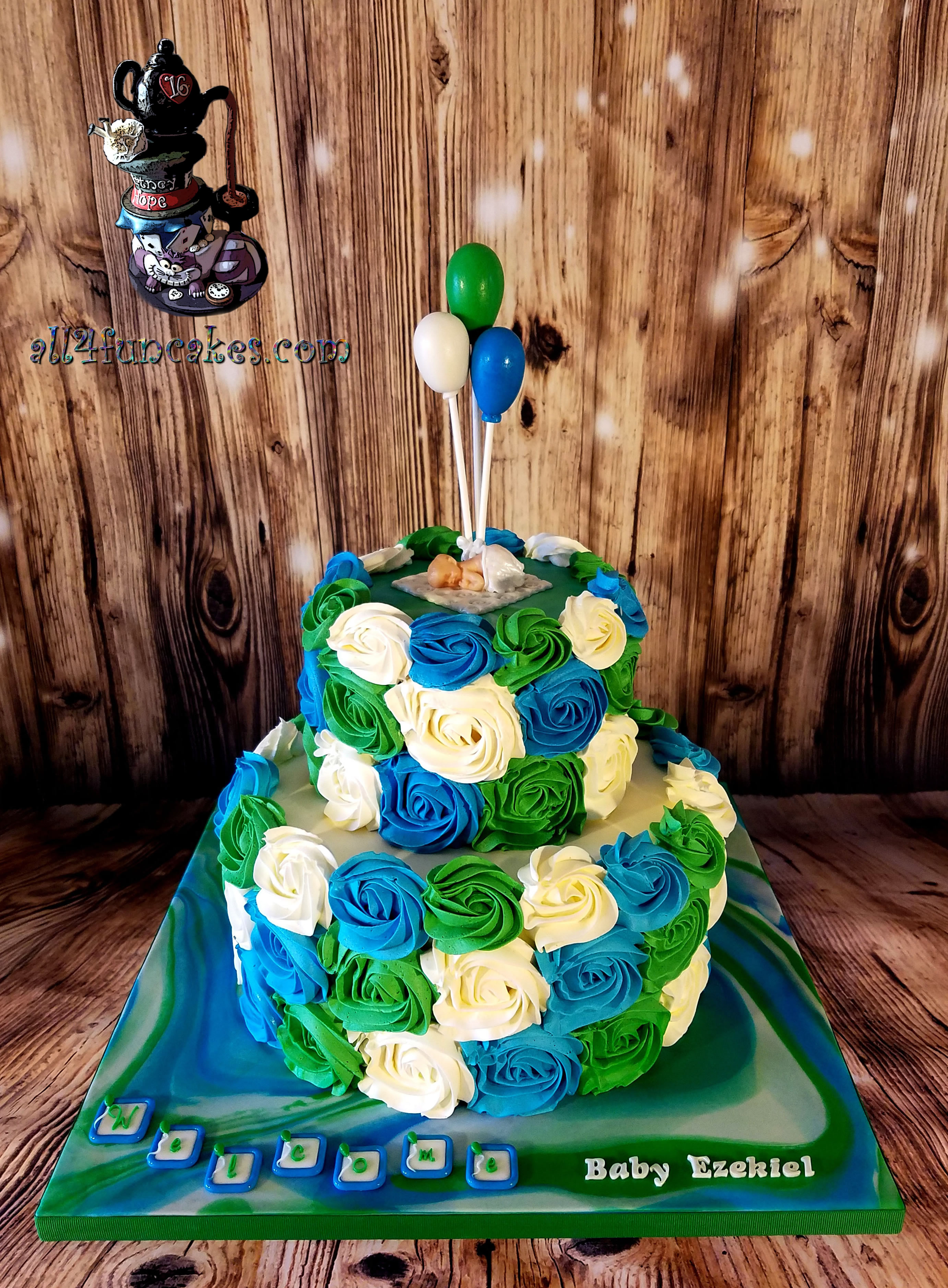 Balloons and Roses Baby Shower Special Occasion Cake by All4Fun Cakes  LLC