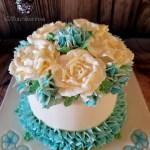 Buttercream Roses and Hydrangeas Wedding Cake by All4Fun Cakes LLC 2018