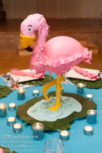 Cherry Chip Cheesecake Flamingo Sculpted Cake - All4Fun Cakes LLC 2018