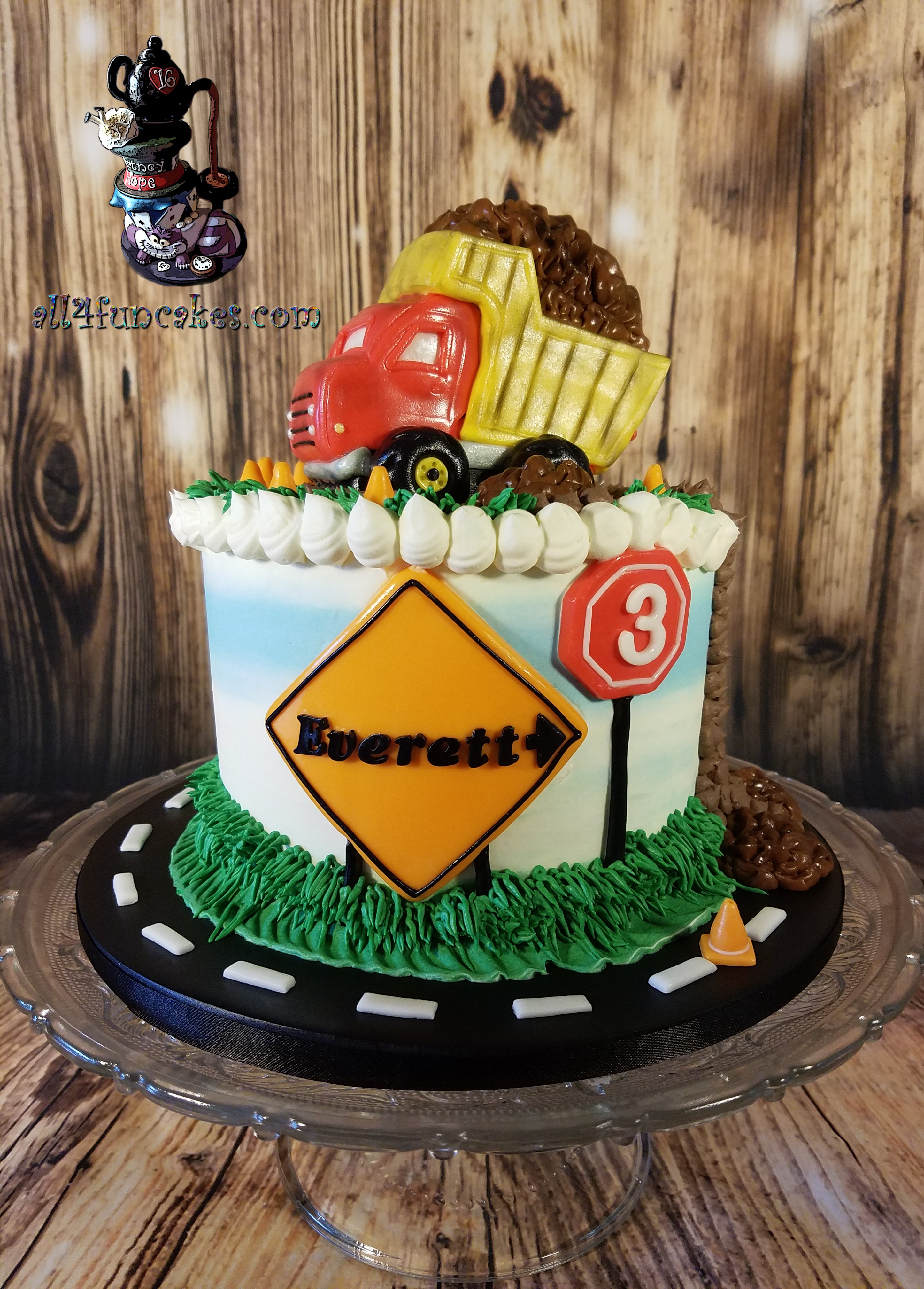Special Occasion Dump Truck Construction Cones Mudslide Road Closed Street Signs Birthday Cake by All4Fun Cakes LLC 2017