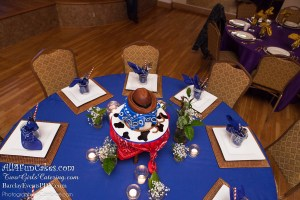 Gluten Free Sinful Decadence Chocolate Cake with Caramel Buttercream and Fondant - Cowboy Hat and Western Theme Cake and Table - All4Fun Cakes LLC 2018 - Two Girls Catering