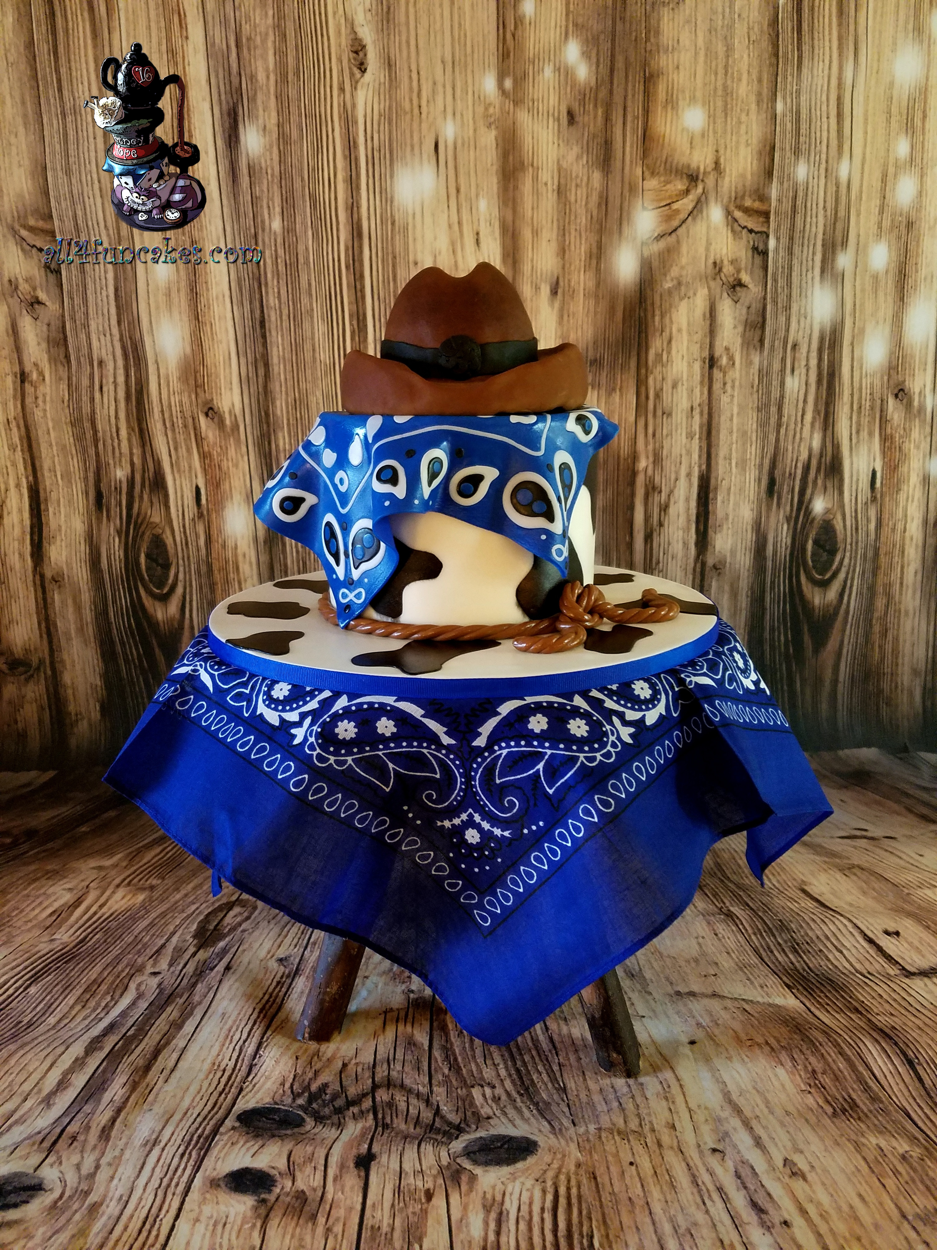 Gluten Free Chocolate Caramel Cowboy Hat Western Special Occasion Cake by All4Fun Cakes LLC