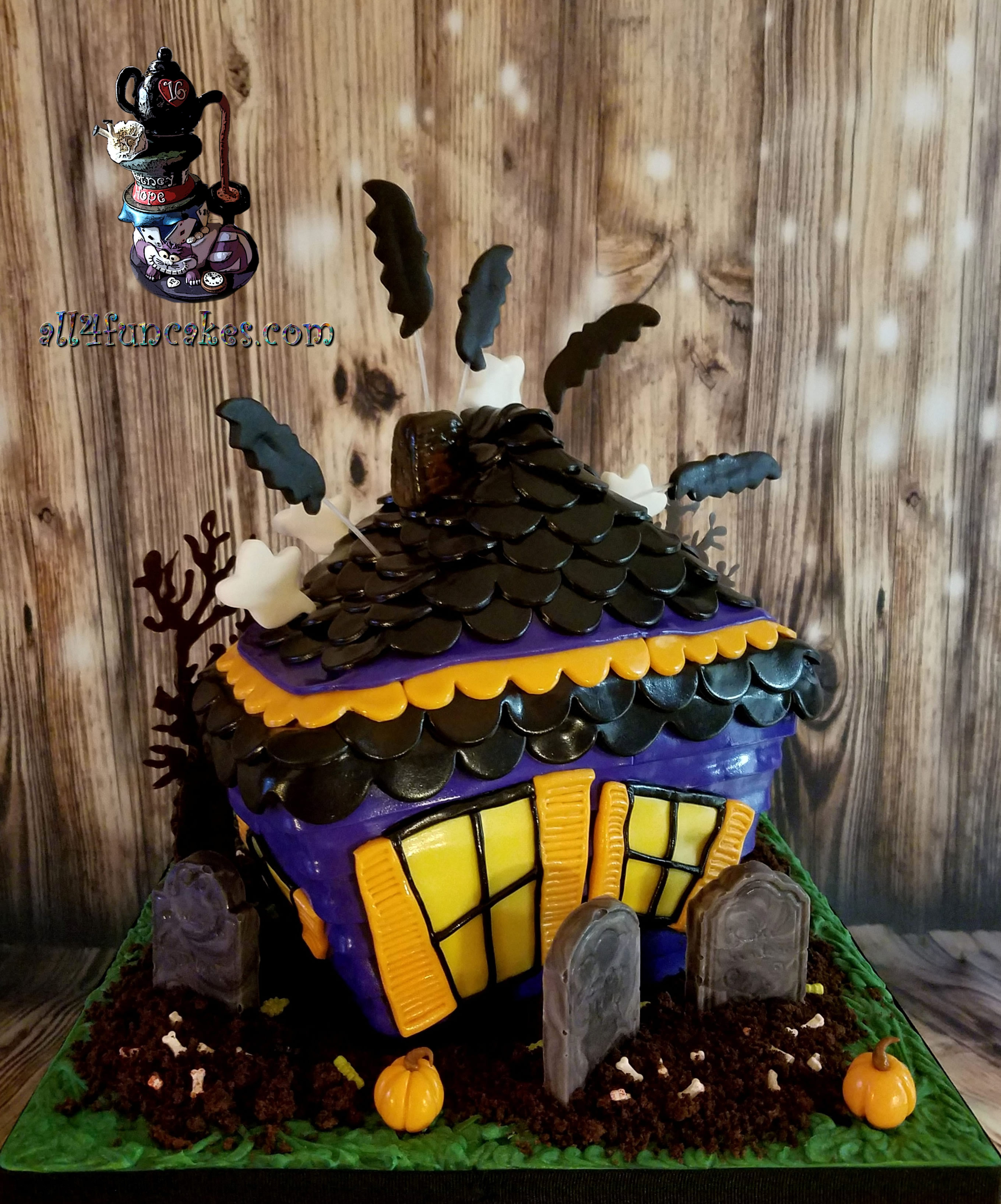 Haunted House Sculpted Birthday Cake by All4Fun Cakes LLC 2017