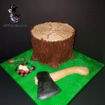 Special Occasion LumberJack Plaid Baby Shower Cake Boy Tree Axe Hatchet Vines Circle of Life Cycle by All4Fun Cakes LLC 2018