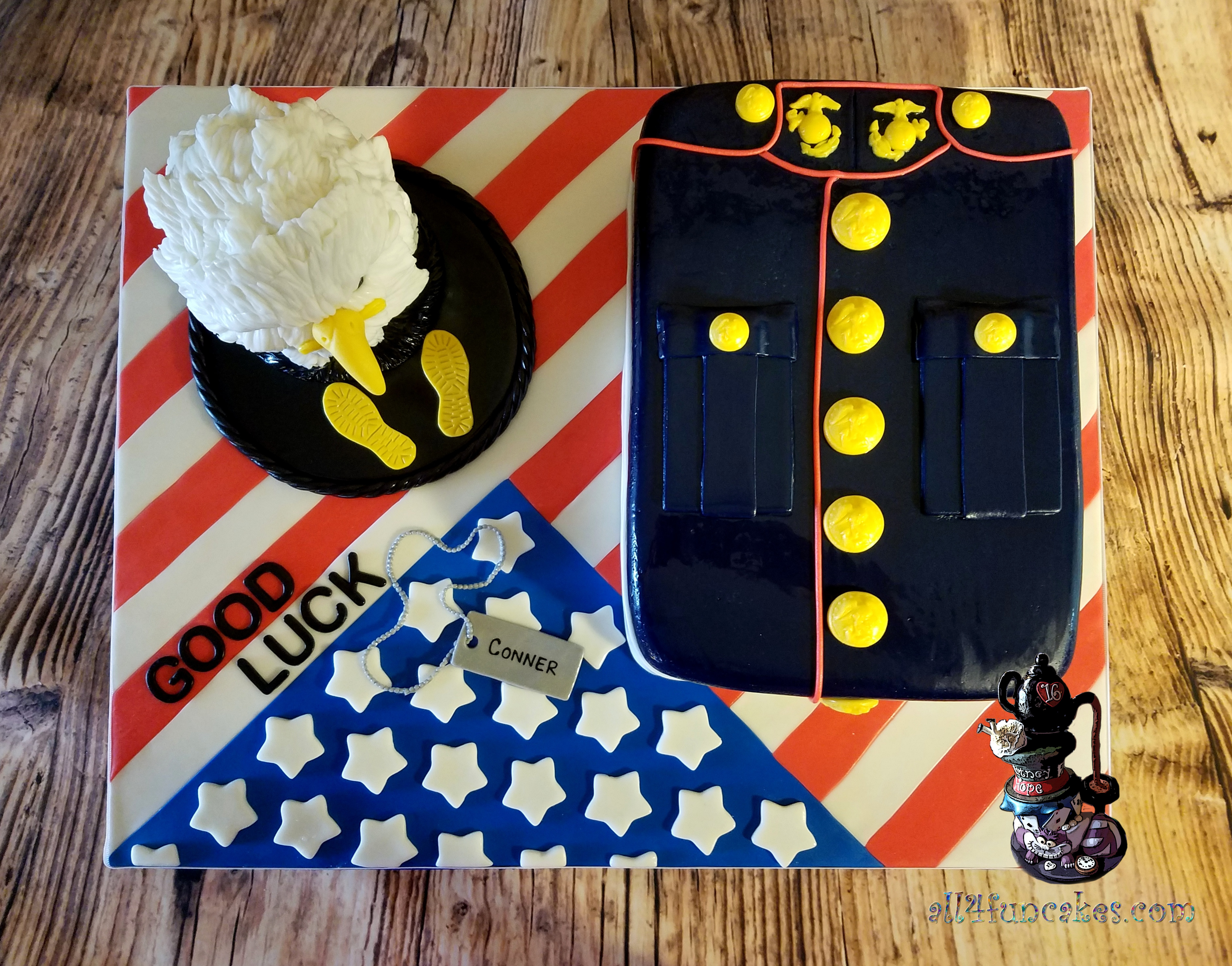 Military Boot Camp Special Occasion Cake - Marines Dress Blues Uniform Flag Sculpted Bald Eagle by All4Fun Cakes LLC 2017