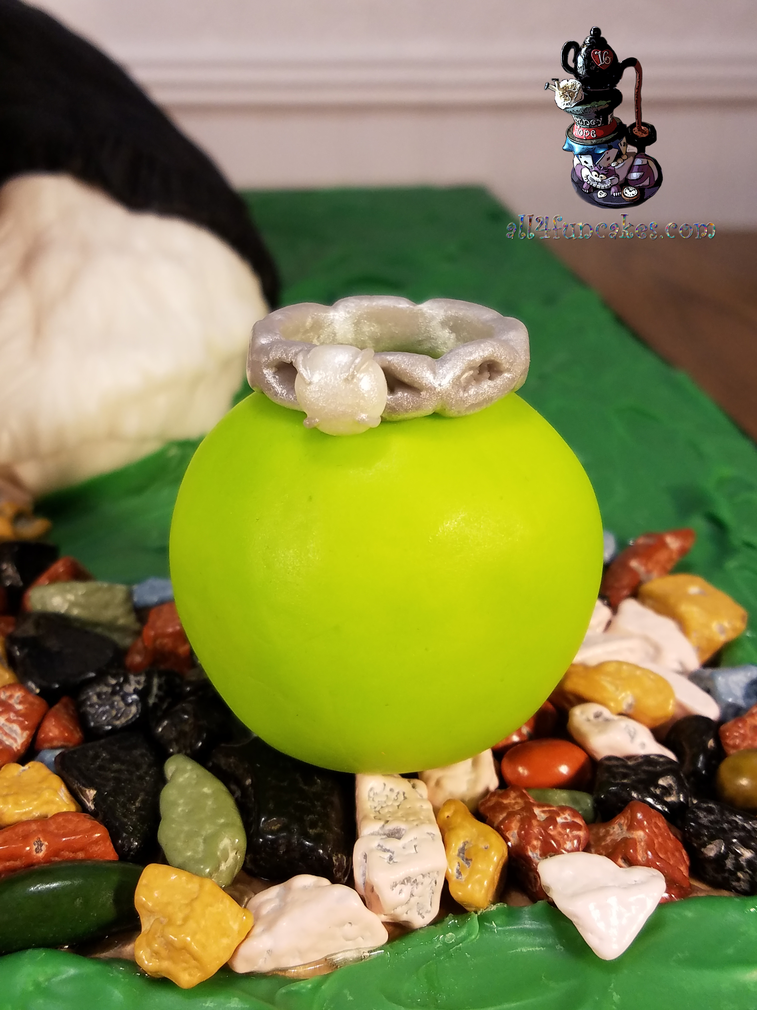 Tennis Ball Toy with Engagement Ring for Noah the Bernese Mountain Dog Sculpted Wedding Rehearsal Cake by All4Fun Cakes LLC 2018