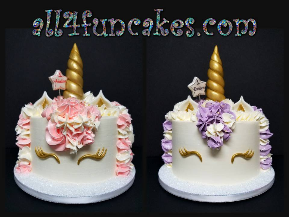 Pink and Purple Unicorn Smash Cakes for Twin GIrls 1st Birthday by All4Fun Cakes LLC