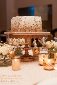 Sugar Free Almond Cake with Amaretto Mousse Filling and Almond/Amaretto Buttercream - Rose Gold and Ivory Simple Elegance Wedding Cake by All4Fun Cakes LLC 2018