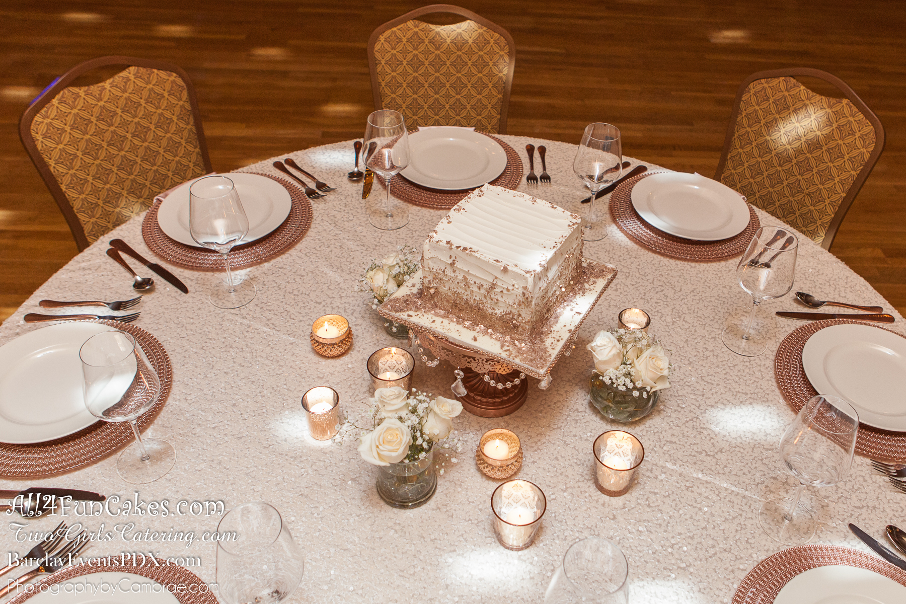 Sugar Free Almond Cake with Amaretto Mousse Filling and Almond/Amaretto Buttercream - Rose Gold and Ivory Simple Elegance Table - All4Fun Cakes LLC 2018 - Two Girls Catering