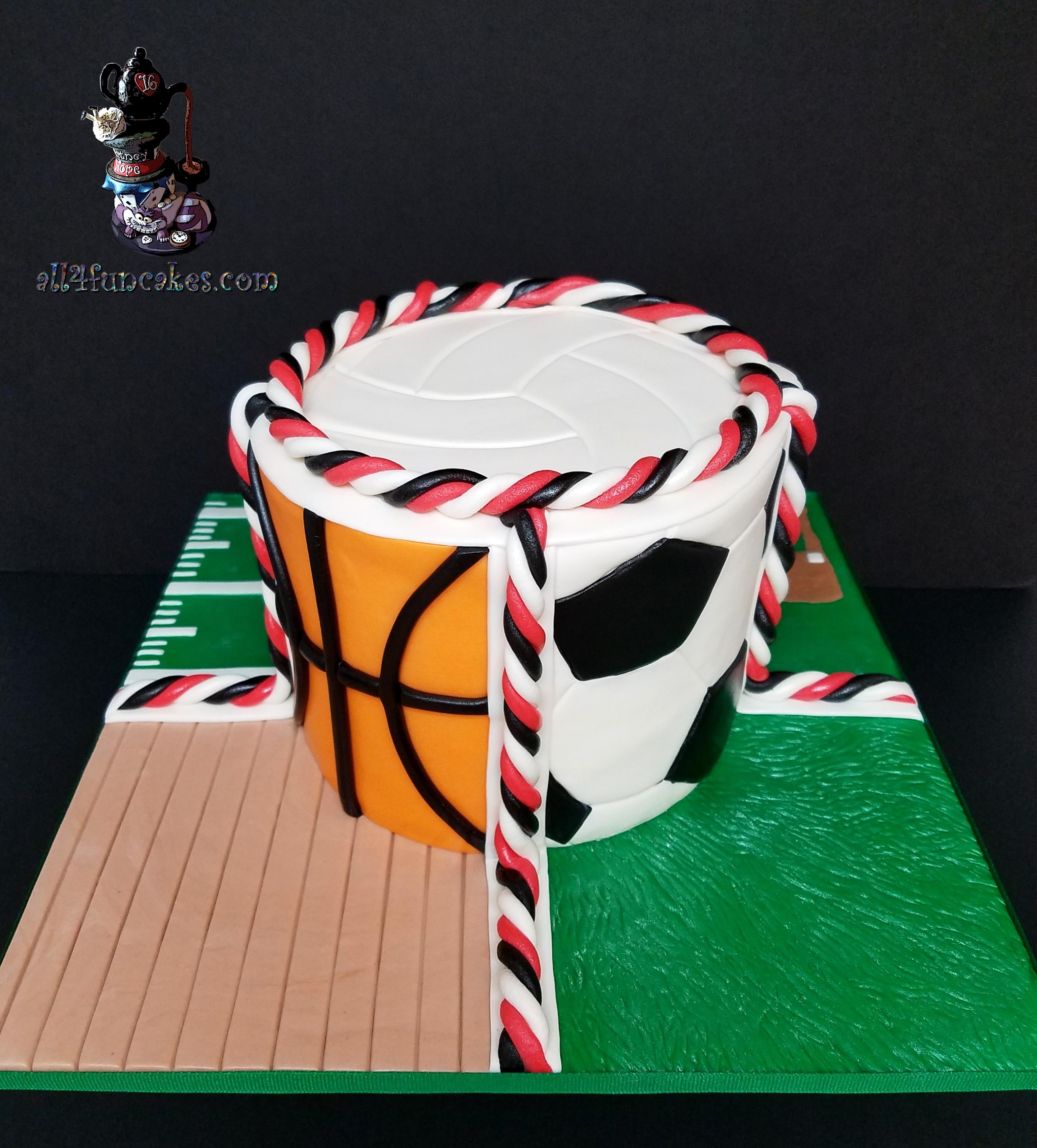 Sports Soccer Baseball Football Basketball Physical Education PE Special Occasion Cake for Beavercreek Elementary PTO Fundraiser by All4Fun Cakes LLC 2018