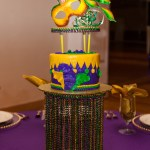Pure Heaven White Chocolate Wedding Anniversary Birthday Cake, Lemon Fruit Filling, White Chocolate Buttercream and Marshmallow Fondant. Hand-Crafted Pastillage Sugar Mask Topper and Custom Beaded Stand - Mardi Gras Cake Table - All4Fun Cakes LLC 2018