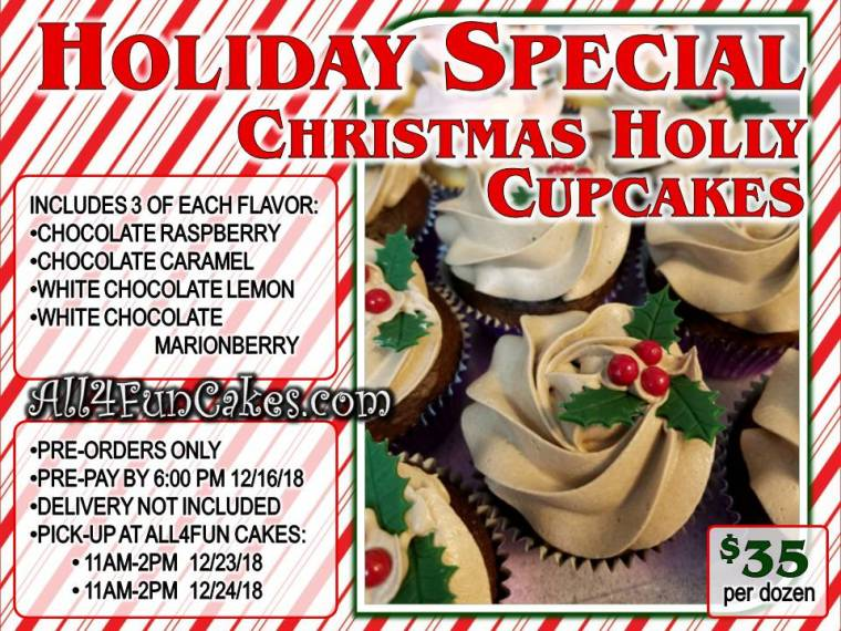 Christmas Holly Cupcakes - One Dozen - Four Flavors