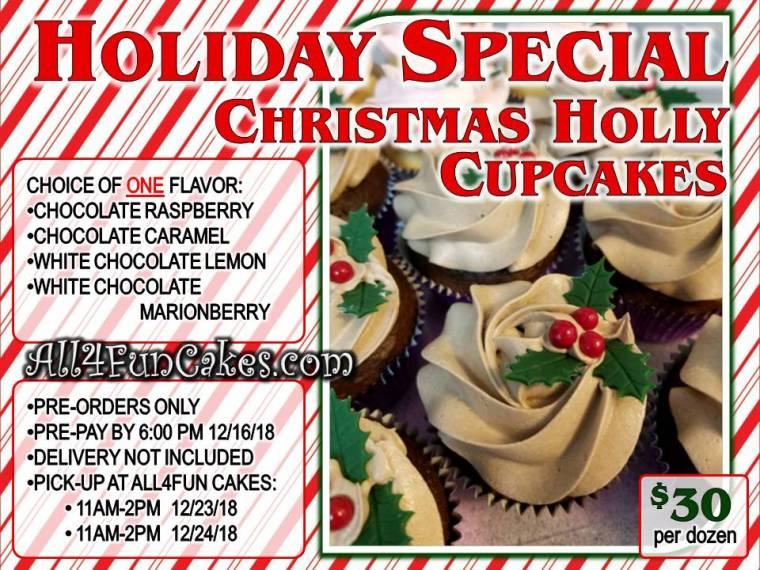 Christmas Holly Cupcakes - One Dozen - Single Flavor