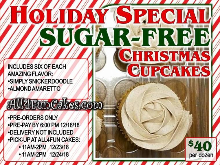 Sugar-Free Christmas Cupcakes - One Dozen