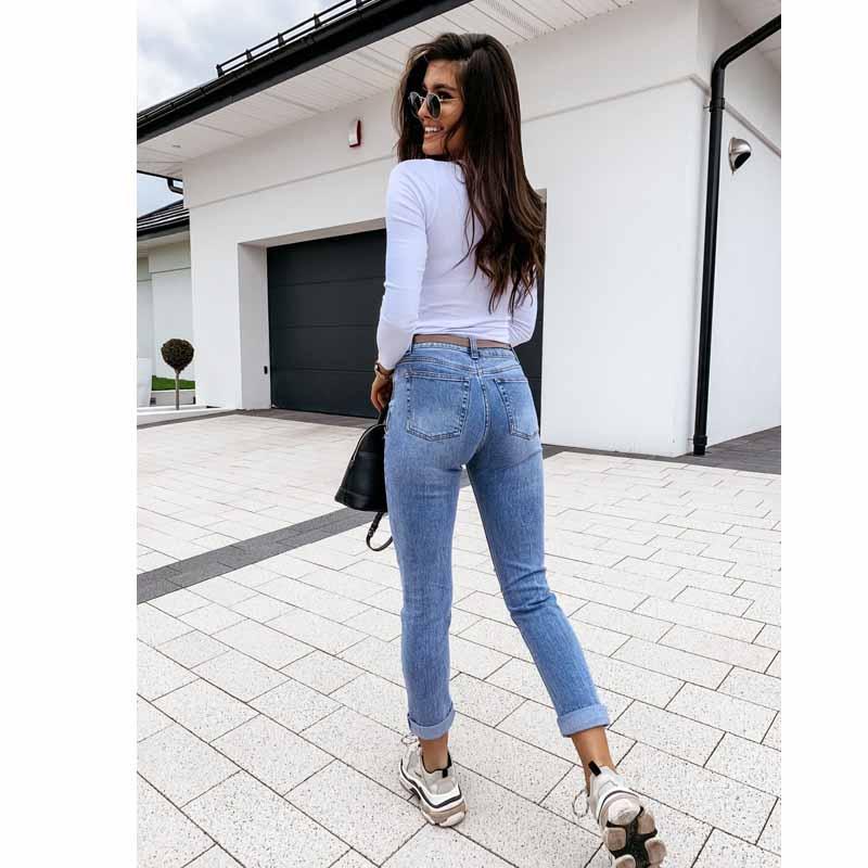 Pantalones Vaqueros De Cintura Alta Ajustados Desgastados Elasticos Y Rasgados Para Mujer Pantalones Vaqueros Triturados Pantalones Ajustados De Primavera Para Mujer Ropa De Otono 2020 All4ushop