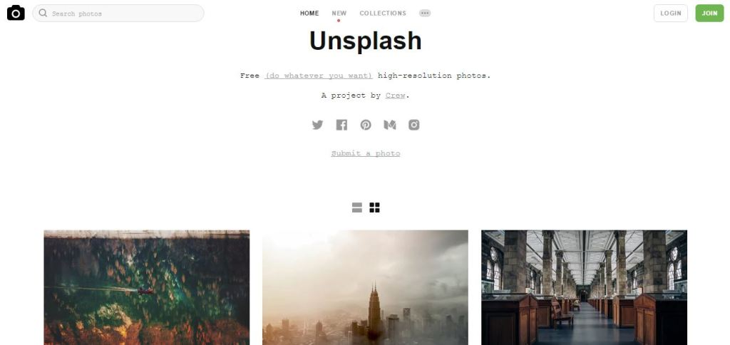 unsplash free pics home page