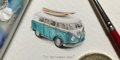 ζωγραφιές μινιατούρες Lorraine Loots 1962 Volkswagen