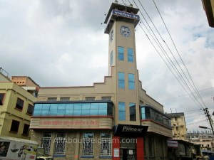 The clock tower on the Pioneer Urban Bank Limited Belagavi
