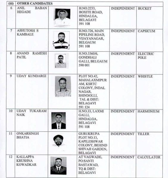 List of Contesting candidates with Symbol for Belagavi Constituency