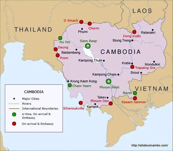 Карта пограничных переходов в Камбодже