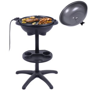 CHEFJOY 1350W Indoor/Outdoor Grill Electric BBQ Grill w/ 4 Temperature Setting, Non-stick, Smokeless, Black