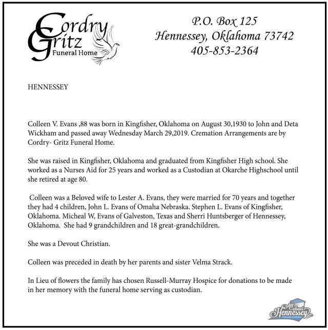 colleen v evans obituary