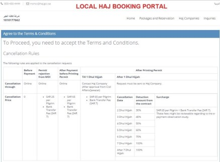 Hajj Package Reservation - Terms & Conditions