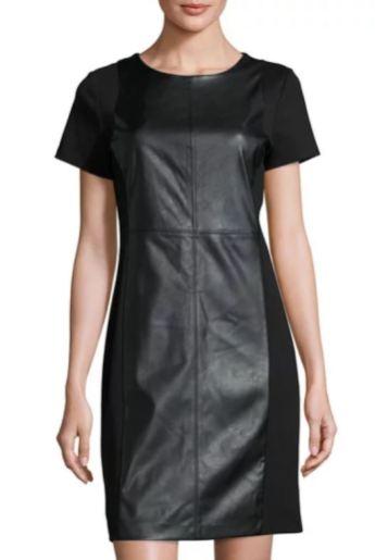 MICHAEL Michael Kors Faux-Leather Ponte Sheath Dress, Black (On Sale $59.40)