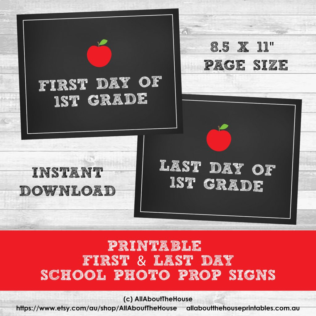 Free Printable Photo Prop Grade Signs For Back To School First Amp Last Day Signs For All Grade