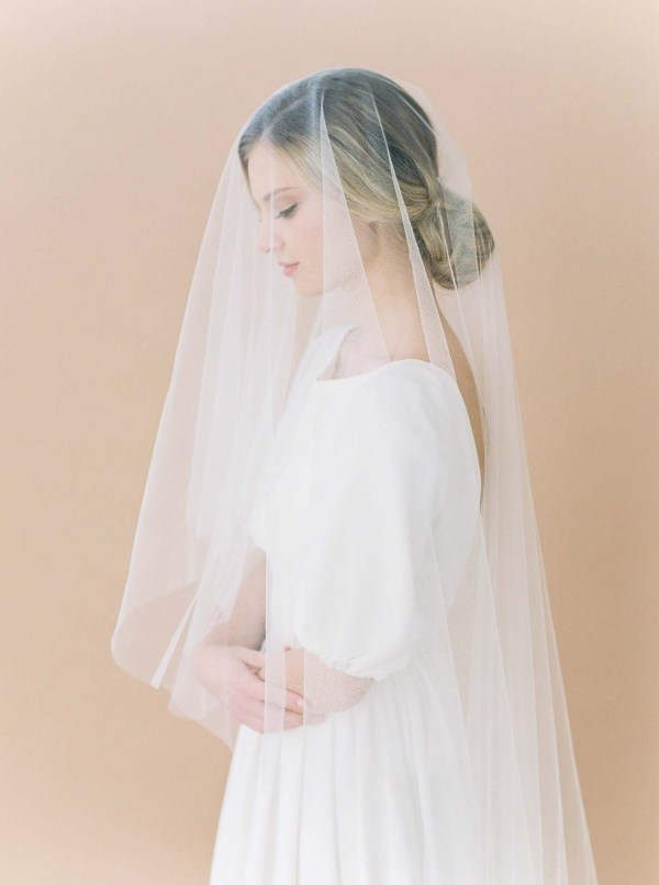 silk tulle veil, silk bridal veil, silk wedding veil, blusher veil