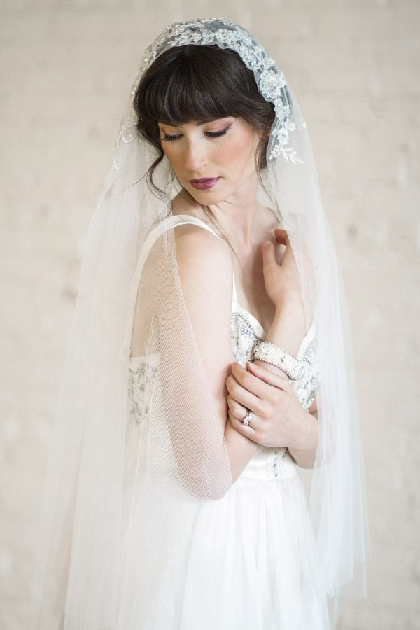 Vintage Style Wedding Veil with Beaded Lace   JULIETTE