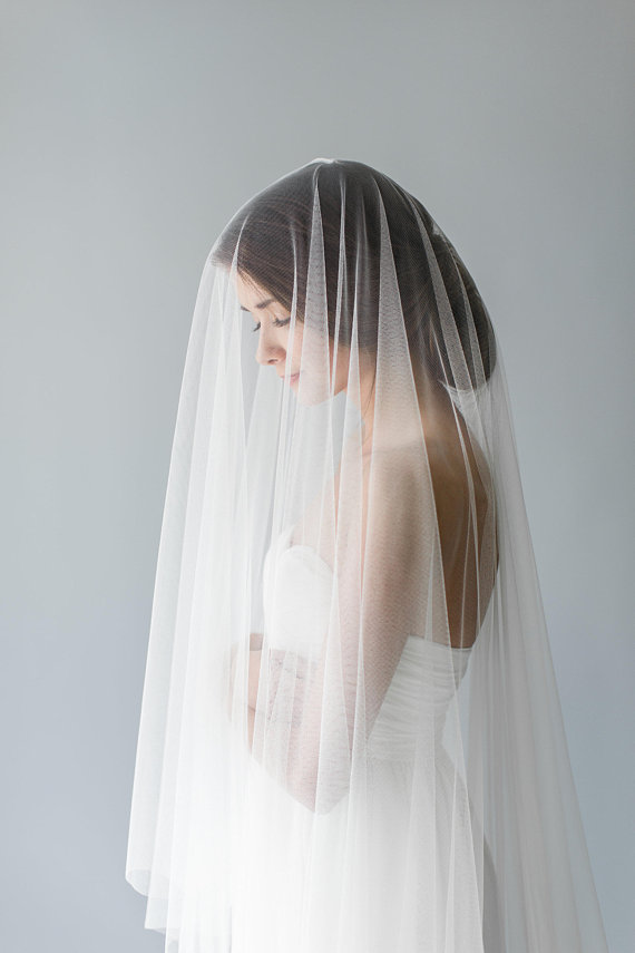 Floor Length Fine Tulle Drop Veil | ADA