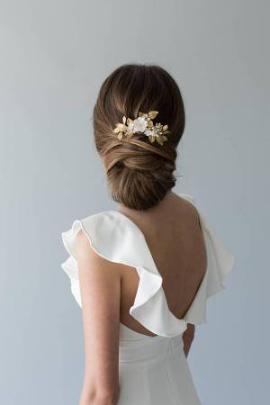 Flowering Bridal Hair Comb - OLIVE