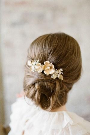 Brass Flower and Leaves Bridal Comb | SOMNER
