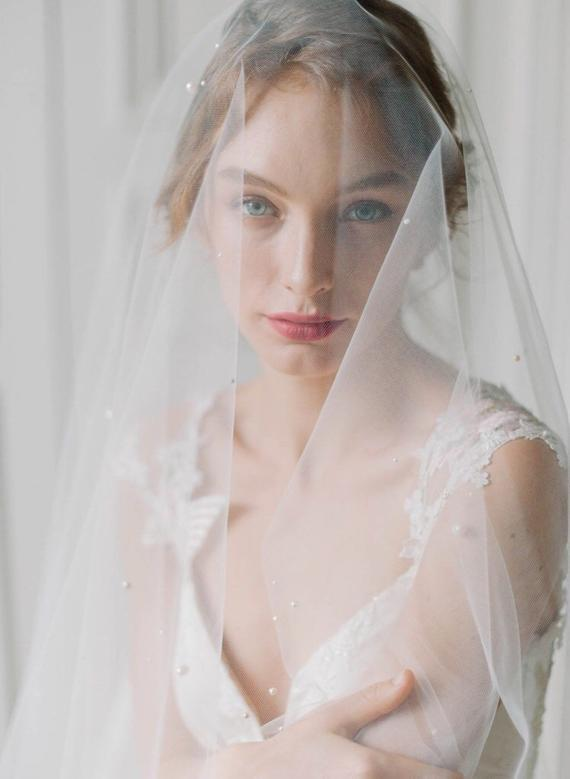 fingertip veil with pearls