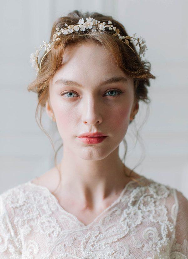 floral bridal crown, wedding tiara
