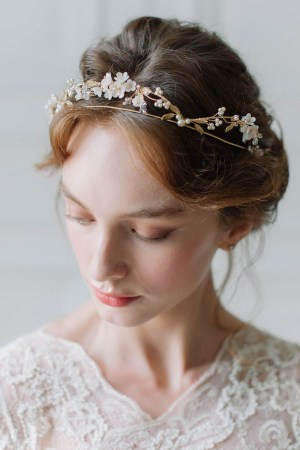 floral bridal crown, wedding tiara