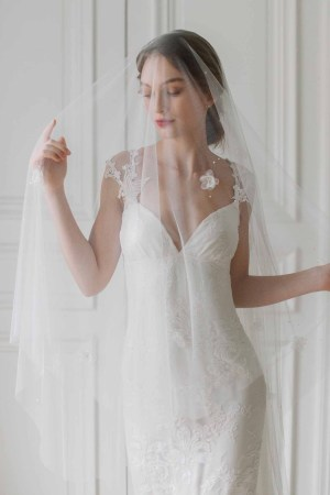 flower veil, flower bridal veil, flower wedding veil