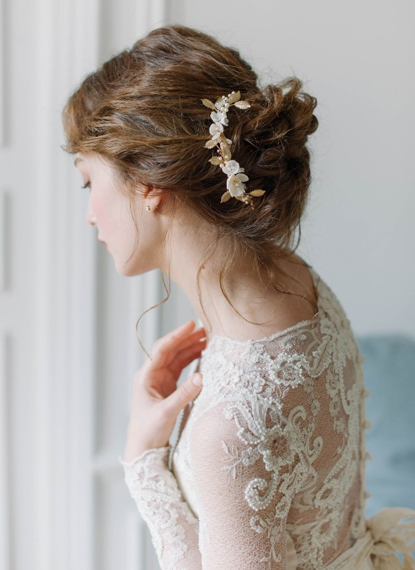 floral wedding hair comb