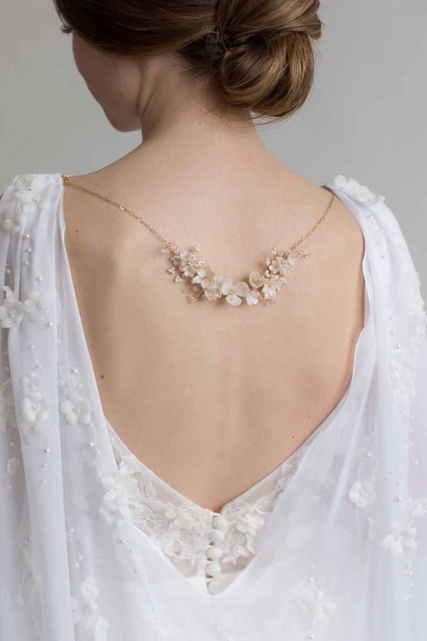 floral back necklace, wedding jewellery