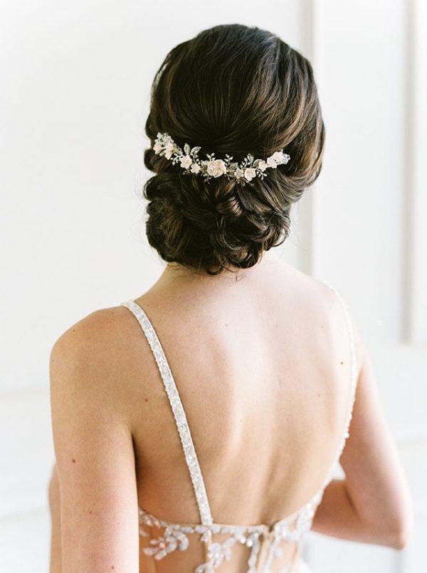 silver blush bridal comb