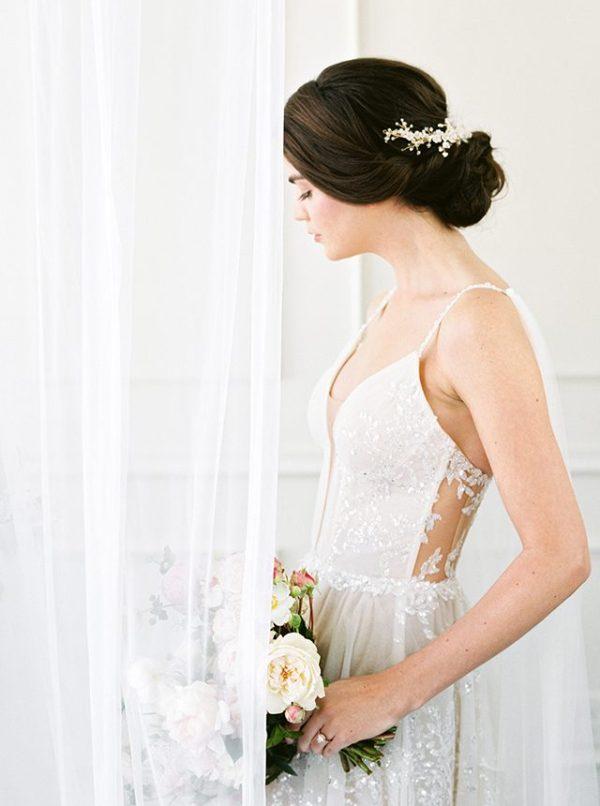 floral bridal headpiece, floral wedding headpiece, half halo headpiece
