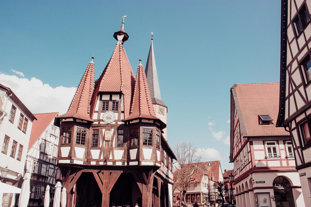 The oldest Rathaus in Germany, Historisches Rathaus in Michelstadt Odenwald a beautiful half-timbered building