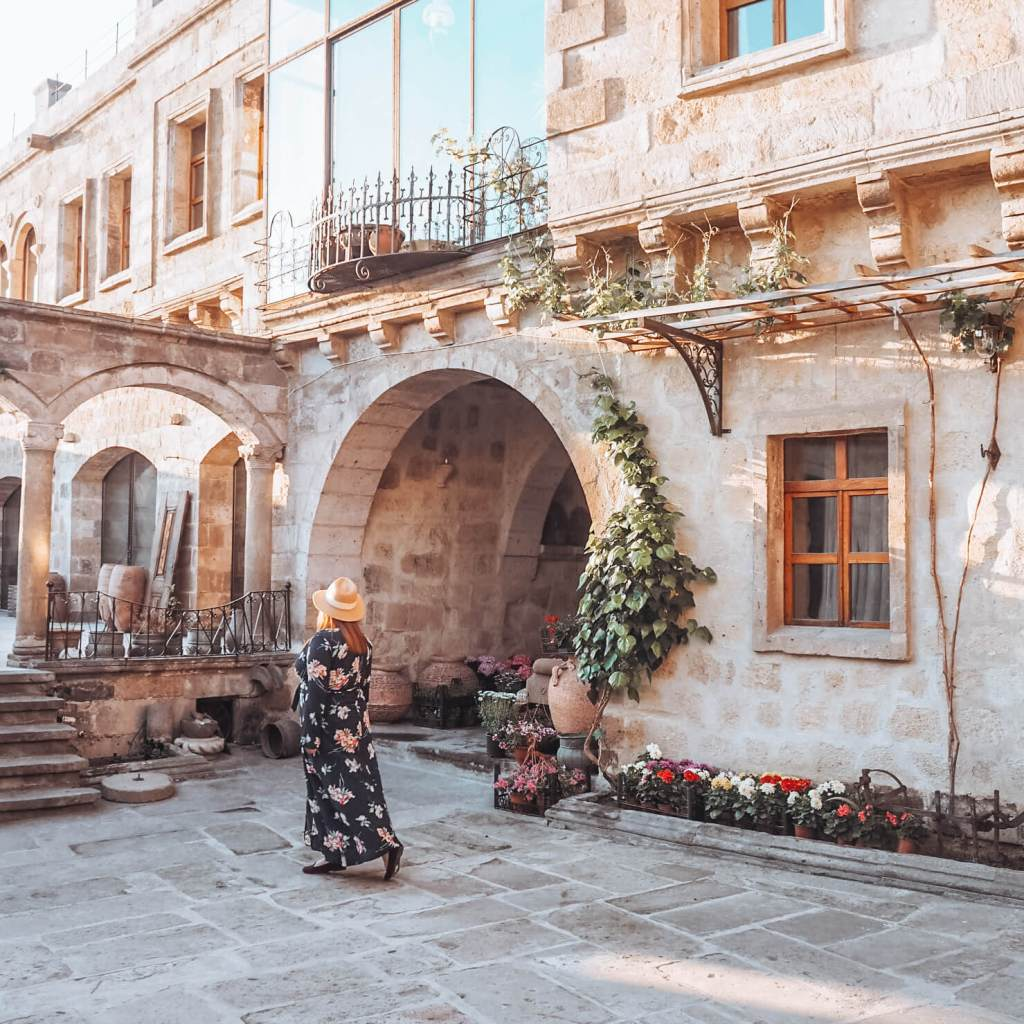 The beautiful courtyards of the Sultan Cave Suite Hotel, Goreme Cappadocia, Turkey the ultimate bucketlist place.