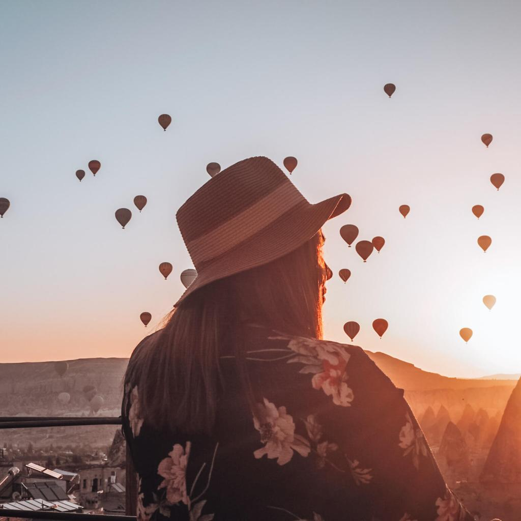 Watching the hot air balloons at Goreme Cappadocia, Turkey the ultimate bucket list place.