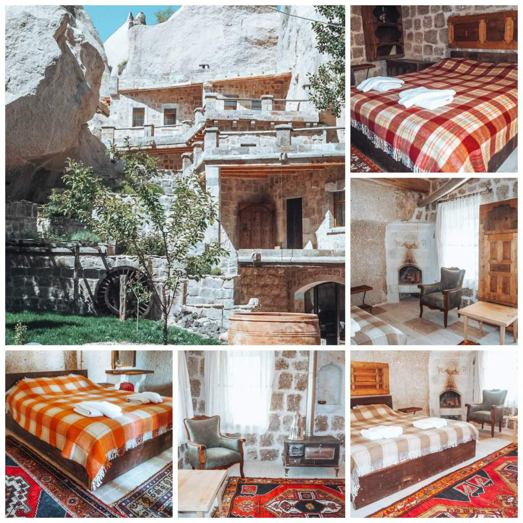 Bedrooms at the Kelebek Special Cave Hotel Goreme Cappadocia.