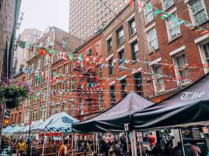 The most instagrammable places in New York. Stone Street, New York.