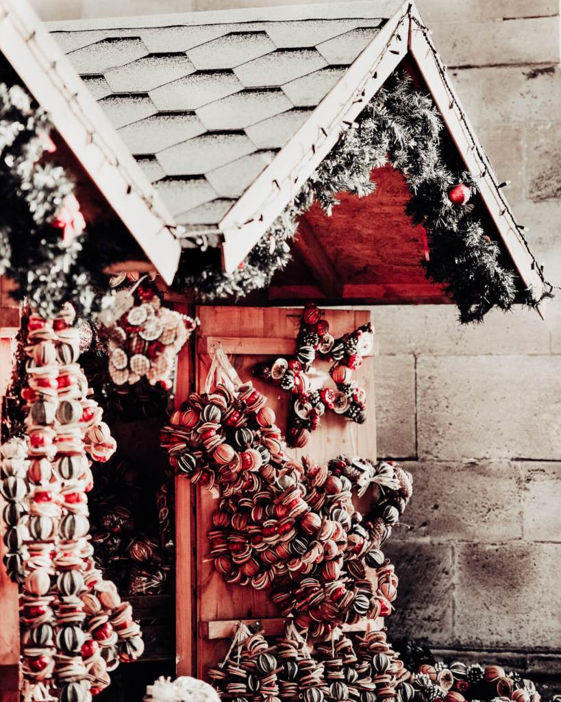 Rustic wooden stalls at Cristmas markets in Europe.